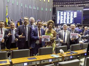 Deputados de oposição no Plenário da Câmara, entre eles, Vander Loubet (PT-MS)