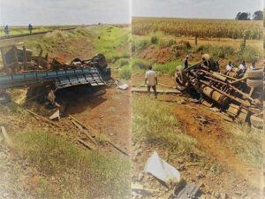 Trem esmaga caminhão em colisão mas motorista sobrevive