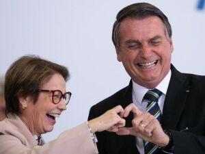 O presidente Jair Bolsonaro (PSL) e a ministra da Agricultura, Tereza Cristina, durante evento que marca 200 dias do governo