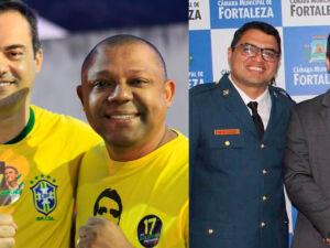 Capitão Wagner com soldado Noélio (à esquerda) e o vereador Reginauro (Montagem)