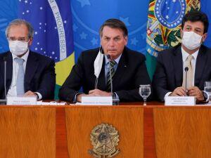 Guedes, Bolsonaro e Mandetta em coletiva de imprensa