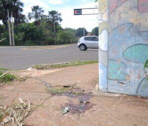 Vestígios do acidente ainda podem ser visto do no local da colisão