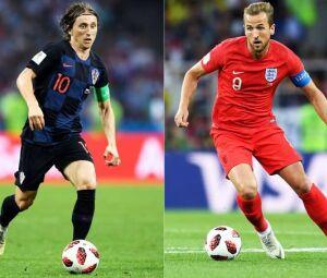 Luka Modric e Harry Kane: os craques das seleções croata e inglesa .