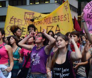Manifestação pelo direito das mulheres em dezembro de 2016.