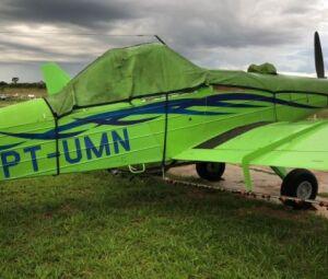 Um dos aviões apreendidos durante a operação nesta manhã