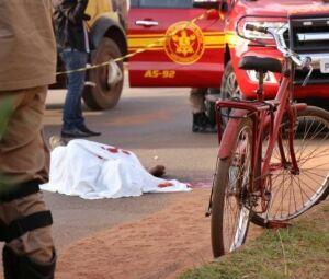 Bicicleta usada pela vítima para ir para o trabalho