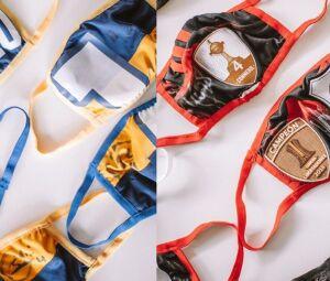 Máscaras do Boca Juniors e do River Plate feitas a partir de camisas doadas dos clubes argentinos