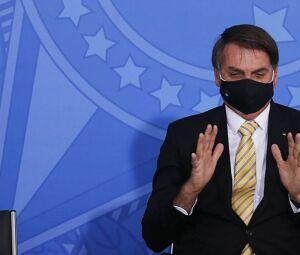 O presidente Jair Bolsonaro participa do lançamento da campanha contra violência doméstica, no Planalto 15/05/2020
