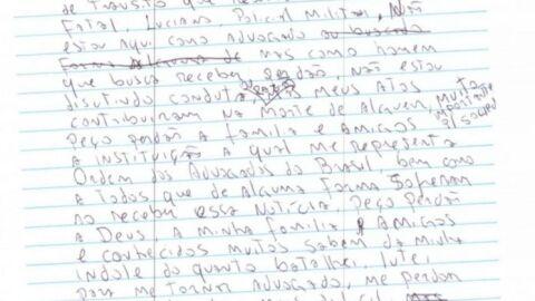 Preso, advogado que matou PM em acidente, escreve carta de arrependimento