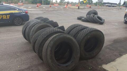 PRF apreende pneus sem nota fiscal na BR-163
