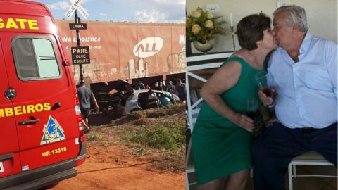 Casal de idosos morrem após carro que conduziam ser atingido na linha do trem