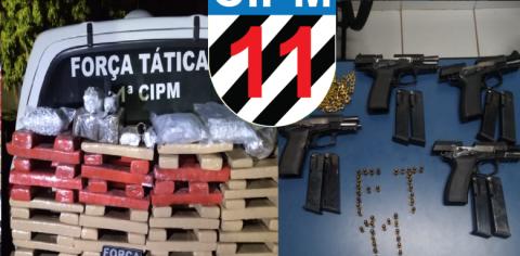 Polícia prende fugitivo e faz apreensão de 120 kg de maconha e armas
