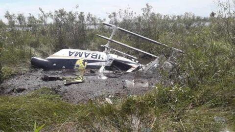 Helicóptero do Ibama cai no Pantanal, 3 sobrevivem e piloto morre