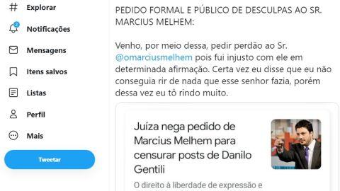 Danilo Gentili 'pede desculpa' em celebração de vitória contra Marcius