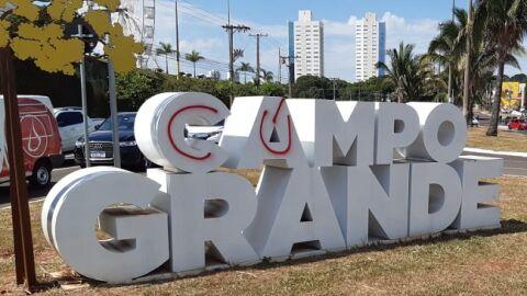 """Letreiro do nome de Campo Grande é pichado com termo """"cú"""""""