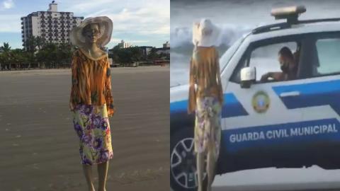 """Vídeo: Homem é levado à delegacia por vestir a manequim """"Judite"""" e deixar na praia"""