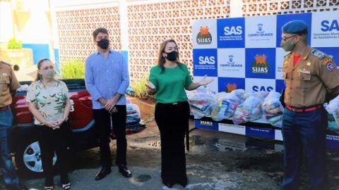 SAS recebe doação de 30 cestas básicas do Corpo de Bombeiros