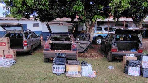Polícia Militar apreende veículos com contrabando trazidos do Paraguai