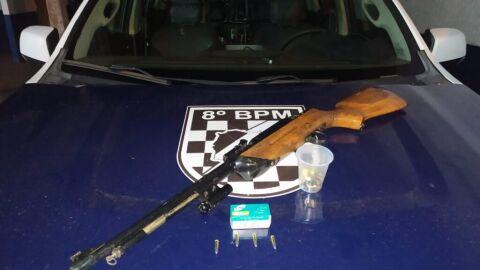 Polícia Militar prende homem por porte ilegal de arma de fogo em Novo Horizonte do Sul/8ºBPM
