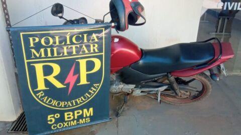 Polícia Militar prende homem por furto e recupera motocicleta em Coxim