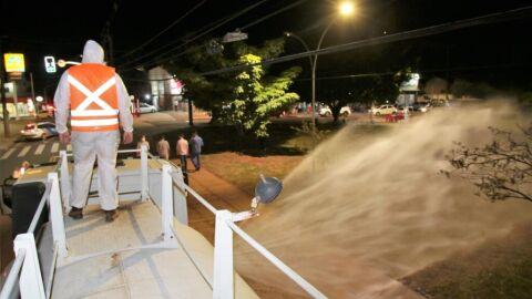 Prefeitura realiza serviços de desinfecção na Avenida Figueiredo Selingardi