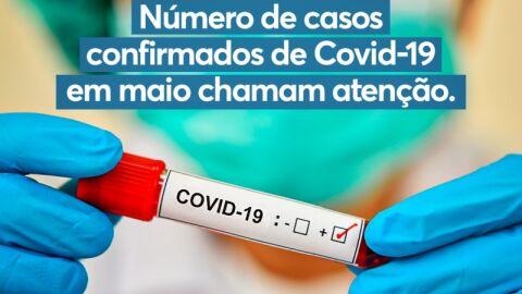 Prefeitura chama atenção para casos confirmados de Covid-19 em maio.