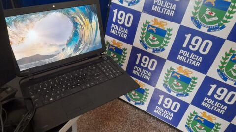 Polícia Militar recupera notebook furtado de empresa durante a madrugada