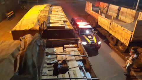 PRF apreende 450 mil maços de cigarro contrabandeados em Tacuru (MS)