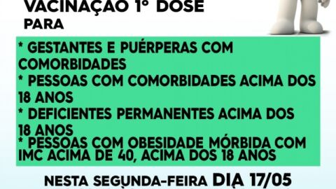 Vacinação da primeira dose contra a Covid-19 nestasegunda-feira em Maracaju
