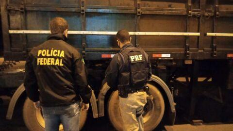 PRF e PF apreendem 591 Kg de maconha em Naviraí (MS)