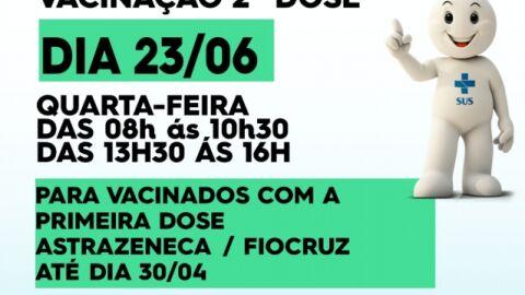 Maracaju segue com a vacinação da SEGUNDA DOSEcontra a Covid-19 nesta quarta-feira