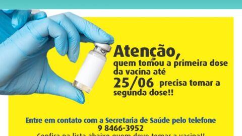 Covid-19: Prefeitura convoca para vacinação da 2ª dose da CoronaVac