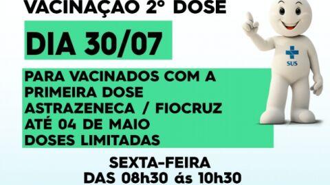 Maracaju imuniza com a SEGUNDA DOSEda Vacina Astrazeneca/Fiocruz nesta sexta-feira.