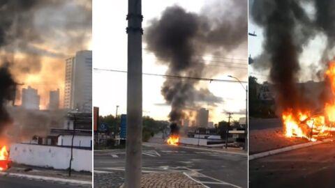Câmeras flagram violenta colisão em poste e na sequência Saveiro pega fogo