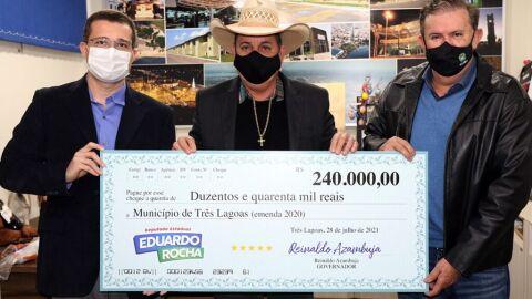 Deputado Eduardo Rocha destina recursos de emendas para Três Lagoas