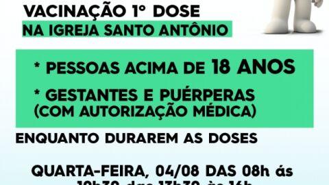 Covid-19: Saiba quais públicos serão imunizados com a 1ª dose nesta quarta-feira.
