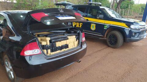 PRF apreende 761 Kg de maconha e recupera veículo em Rio Brilhante (MS)