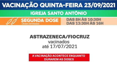 Segunda Dose: Saiba quais públicos irão se vacinar nesta quinta-feira (23)