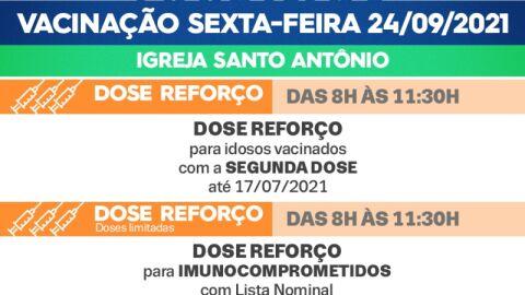 Dose Reforço: Saiba quais públicos irão se vacinar nesta sexta-feira (24)
