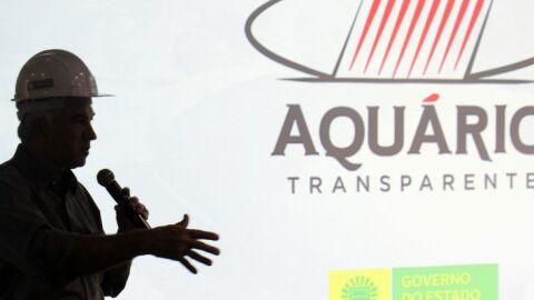Governador Reinaldo Azambuja e secretários visita obras do Aquário