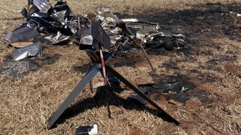Helicóptero cai em fazenda de MS e explode; dois morrem carbonizados