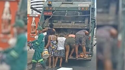 Em frente ao supermercado, moradores brigam por alimentos no caminhão do lixo; vídeo
