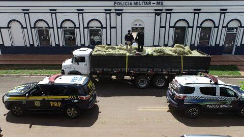 Paranaenses e pernambucano são presos em MS com 7 toneladas de maconha no feno