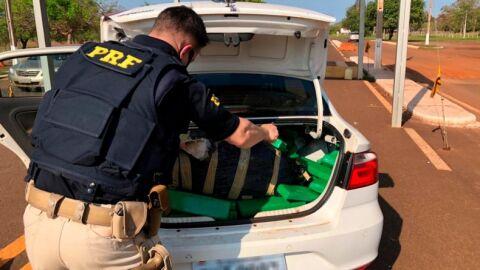 PRF apreende 417 Kg de maconha e recupera veículo em Guia Lopes da Laguna