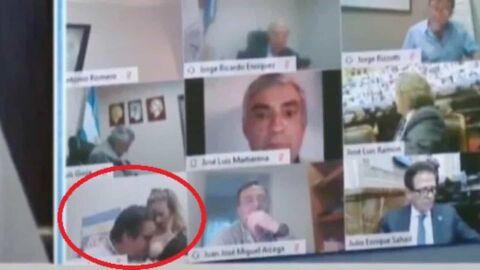 Vídeo: deputado é flagrado beijando os seios da esposa durante sessão virtual