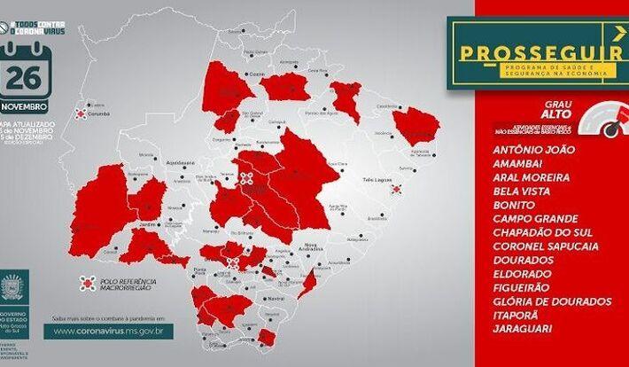 Número de municípios na bandeira vermelha, que inclui a capital, aumentou de 12 para 22 nesta semana