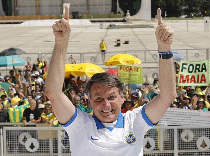Presidente Jair Bolsonaro participou de manifestação em Brasília em 15 de março de 2020