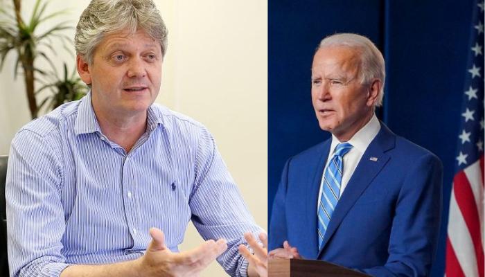 Secretário da Semagro, Jaime Verruck (esquerda) e Joe Biden (a direita)