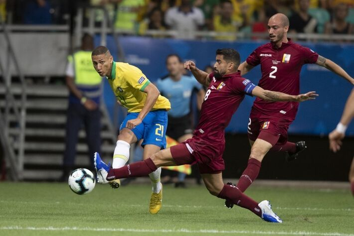 Brasil x Venezuela pela segunda rodada da fase de grupos da Copa América. Richarlison