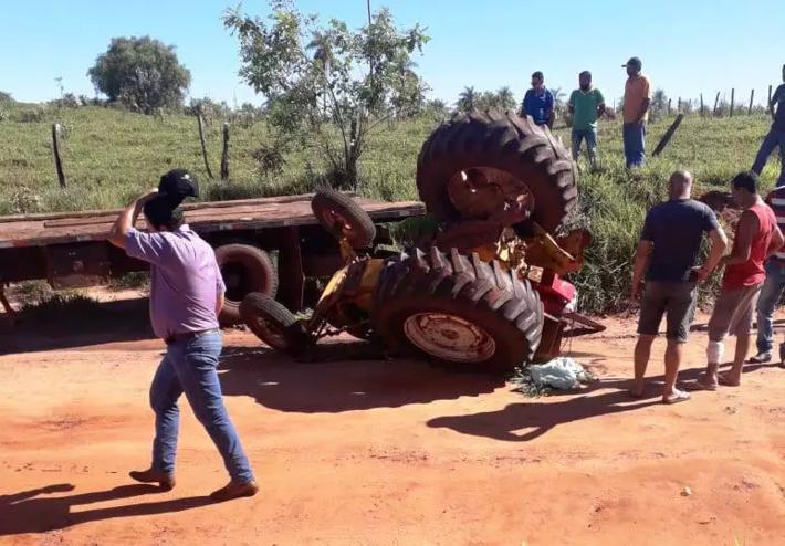 Momento em que a vítima foi atingia pelo maquinário agrícola